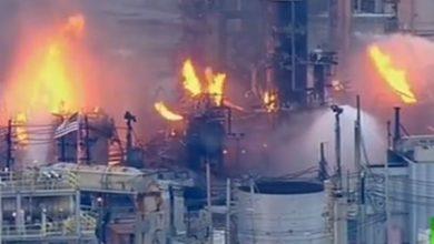 صورة حريق كبير في مصفاة نفط في فيلادلفيا الأمريكية