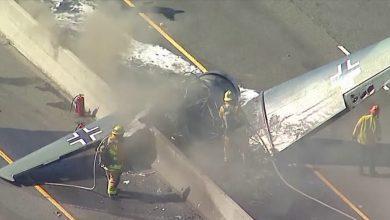 صورة تحطم طائرة على طريق سريع في ولاية ميريلاند الأمريكية