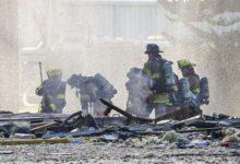 صورة اصابة 5 أشخاص بعد انفجار مبنى تجاري في ولاية فرجينيا