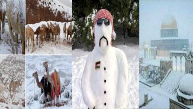 رجل الثلج يظهر في الدول العربية والثلوج تغطي قبة الصخرة وأسنام الجمال